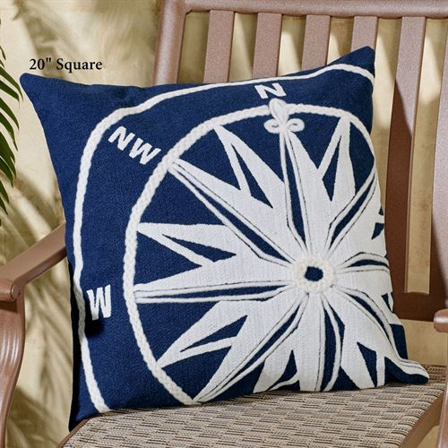 Compass Pillow Navy Rectangle