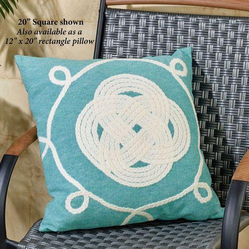 Ornamental Knot Pillow Aqua Rectangle