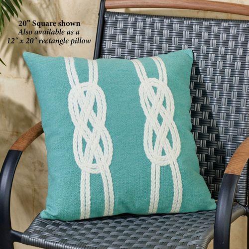 Double Knot Pillow Aqua Rectangle