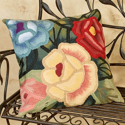 Crochet Flower Pillow Multi Earth 20 Square