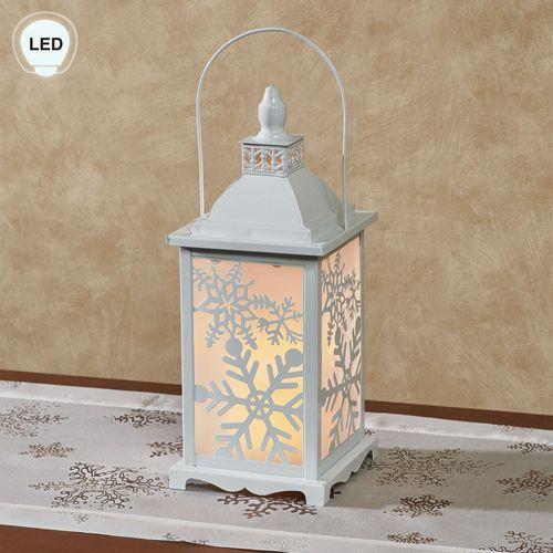 Snowflake LED Lighted Lantern White