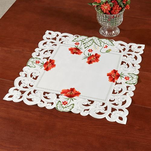 Red Poppies Small Table Topper Off White 20 Square