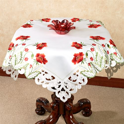 Red Poppies Table Topper Off White 36 Square