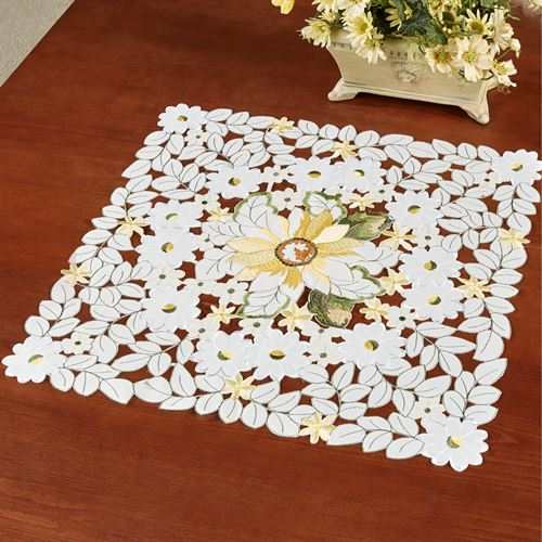 All Over Sunflowers Small Table Topper Light Cream 20 Square