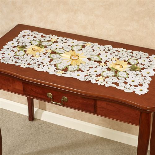 All Over Sunflowers Table Runner Light Cream 16 x 36