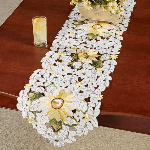 All Over Sunflowers Long Table Runner Light Cream 13 x 65