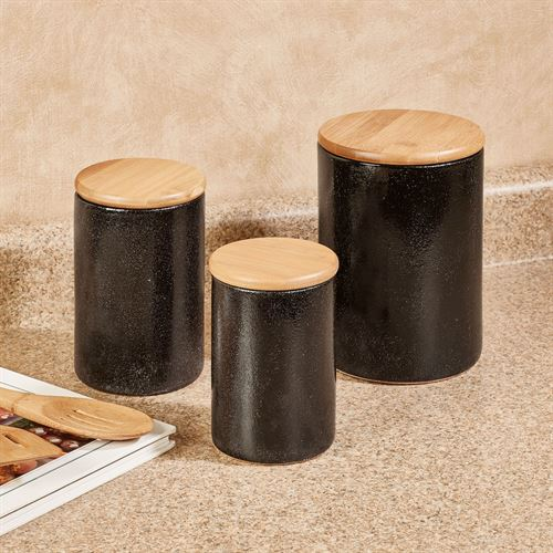 Laxton Kitchen Canisters Black Set of Three