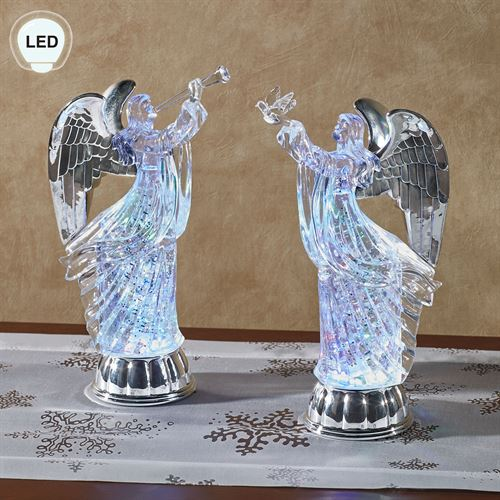 Swirling Glitter Angel Figurines Clear Set of Two