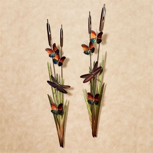 Cattails Wall Art Multi Jewel Set of Two