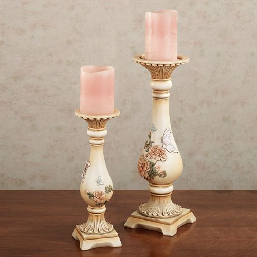 Peony Garden Candleholder Set Multi Pastel Set of Two
