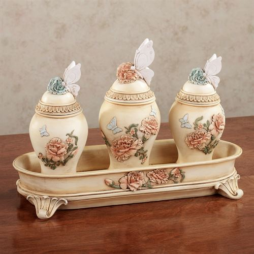 Peony Garden Covered Jars and Tray Set Multi Pastel Set of Four