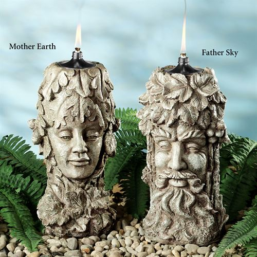 Natures Garden Patio Oil Torch Set Weathered Stone Set of Two