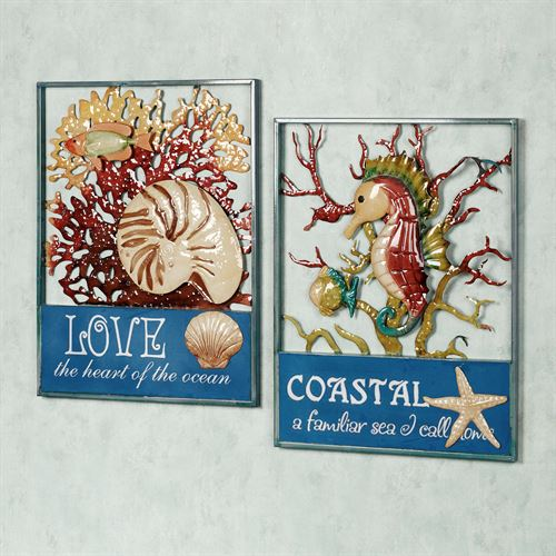 Coral Impressions Wall Art Set Blue Set of Two