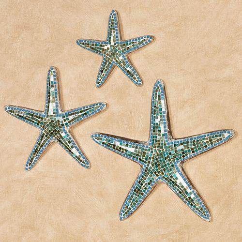 Riley Starfish Wall Art Blue Set of Three