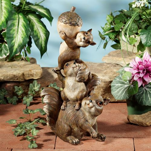 Trio of Squirrels Sculpture Brown