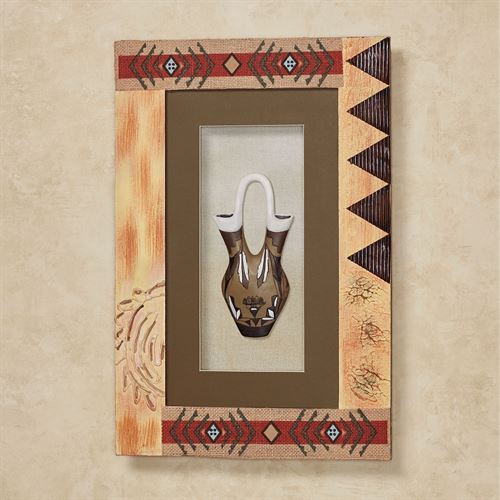 Southwest Pottery Shadow Box Wall Art Multi Warm