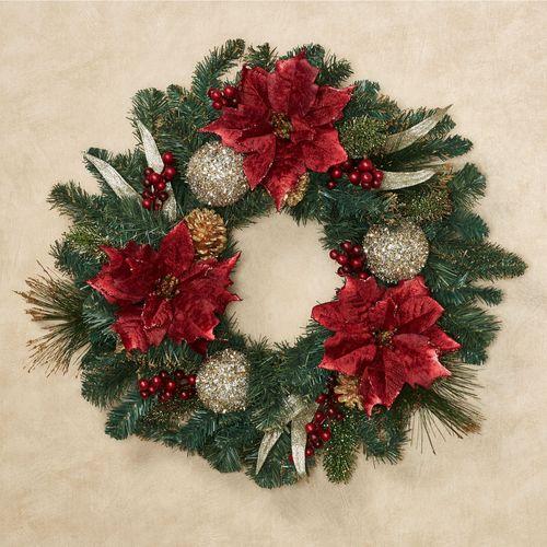 Holiday Poinsettia Wreath Multi Warm