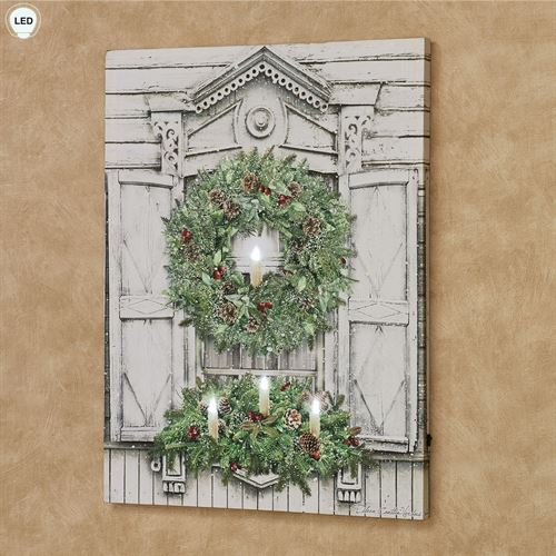 Christmas Window Lighted Canvas Wall Art Multi Cool