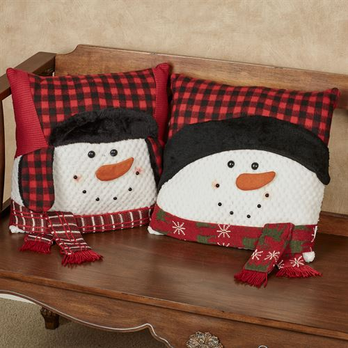 Country Plaid Snowman Pillows Red Set of Two