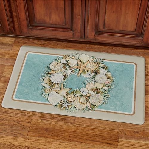 Coastal Wreath Cushioned Floor Mat Turquoise 30 x 18