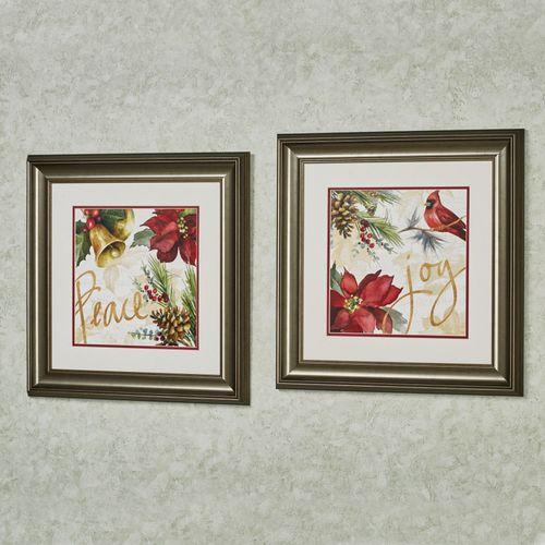 Christmas Poinsettia Framed Wall Art Multi Warm 2 Piece Set & Christmas Poinsettia Framed Wall Art Set