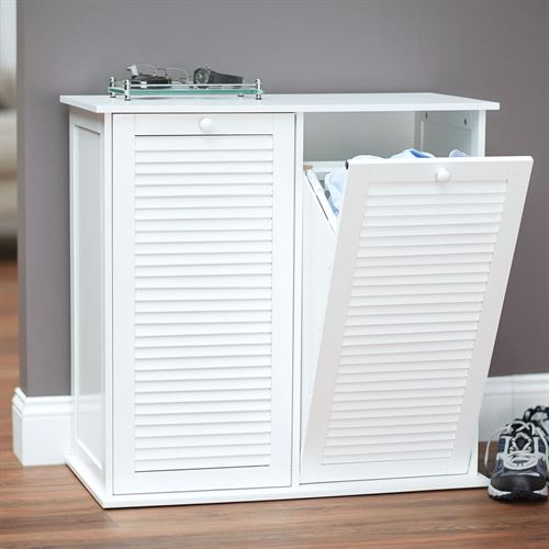 Parsons Laundry Hamper Cabinet White
