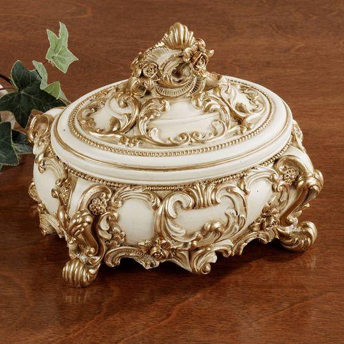 Oliviana Covered Box Ivory/Gold