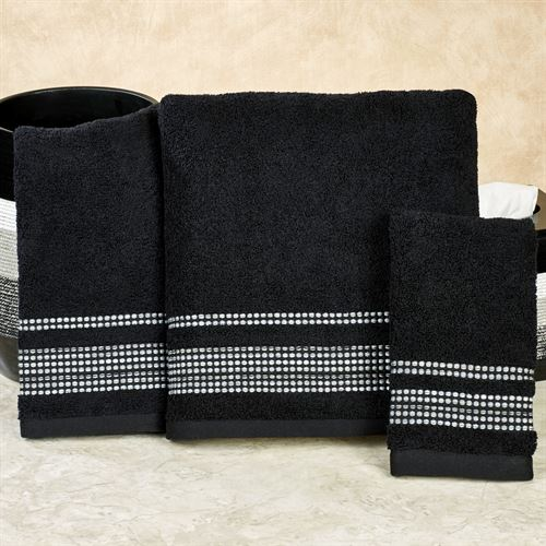 Ambrosi Bath Towel Set Black Bath Hand Fingertip