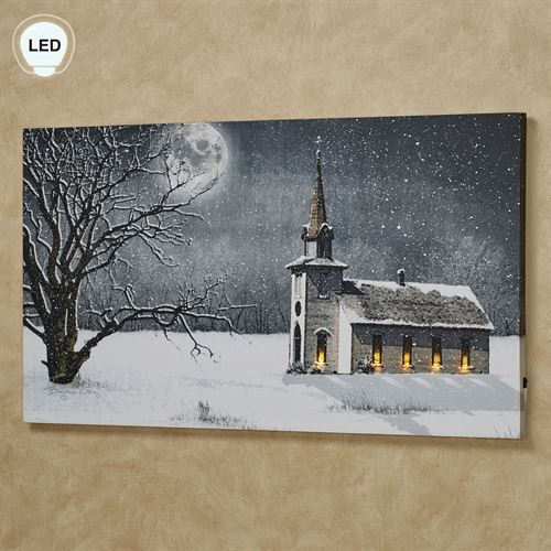 Candlelight Church Service Lighted Canvas Wall Art Multi Cool