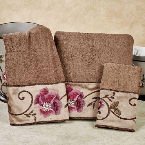 larissa bath towel set cocoa bath hand fingertip - Pink Bathroom Towels