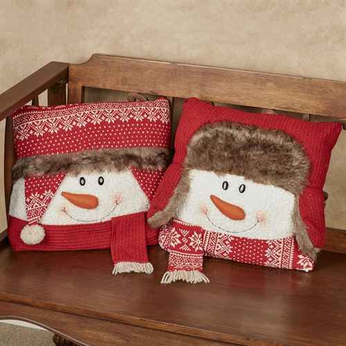 Winter Red Snowman Decorative Pillows Set of Two