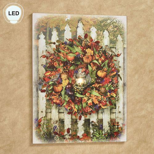 Harvest Garden Gate Lighted Canvas Wall Art Multi Warm