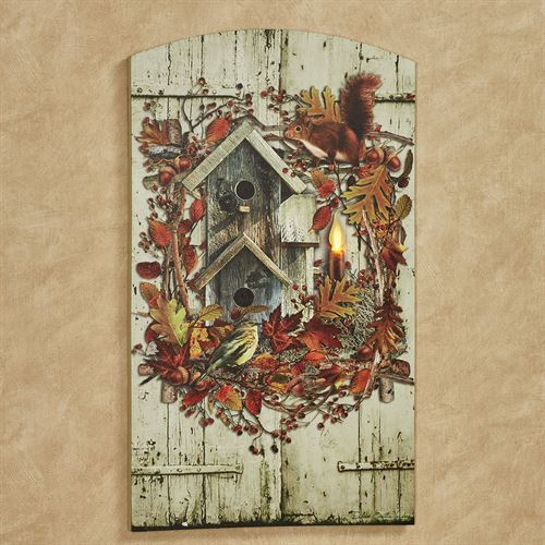 Harvest Wreath Lighted Canvas Wall Art Multi Warm