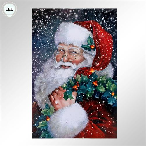 Santa Claus LED Lighted Holiday Canvas Wall Art