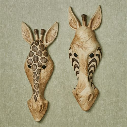 Safari Animal Mask Wall Art Multi Earth Set of Two