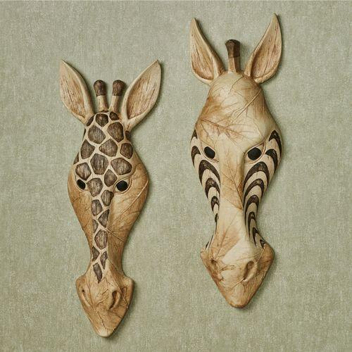 Safari Animal Mask Wall Art Multi Earth Set of Two