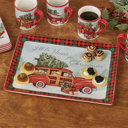 Home for Christmas Rectangle Serving Platter Red