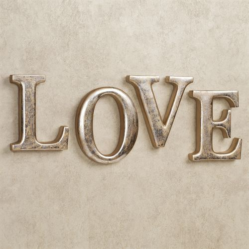LOVE Letters Wall Word Art Set Silver Gold Set Of Four