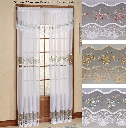 Vintage Embroidered Tailored Sheer Curtain Panel