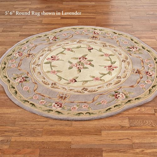 Leila Rose Sculpted Aubusson Floral Round Rugs