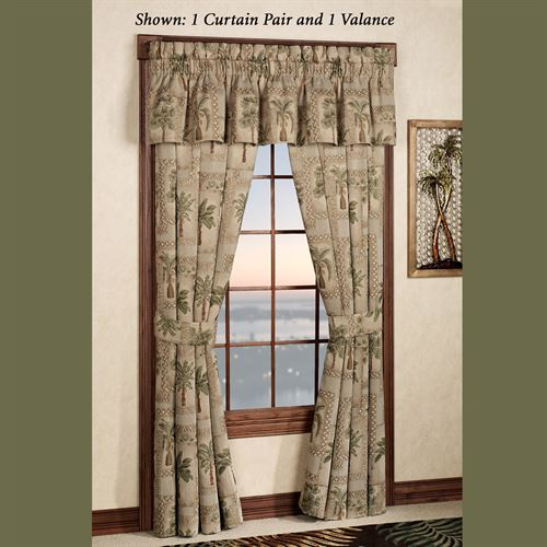Palm Grove Tailored Curtain Pair Almond 84 x 84
