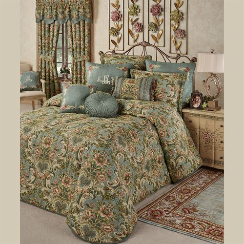 Calais Jacobean Floral Soft Teal Oversized Bedspread Bedding
