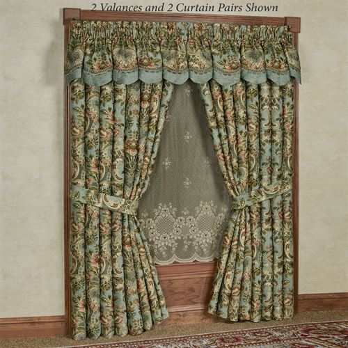 Calais Scalloped Valance Teal 72 x 18