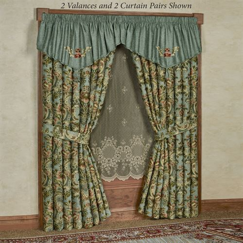 Calais Embroidered Valance Teal 72 x 22