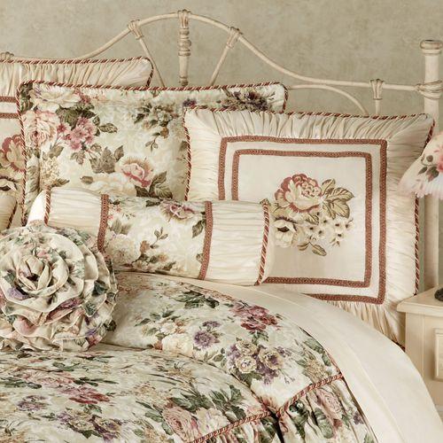 Floral Jubilee Corded Pillow Light Cream Neckroll