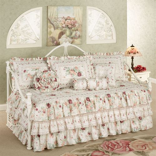 English Rose Floral Ruffled Daybed Bedding Set