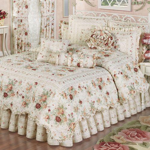 English Rose Quilt Set Ivory