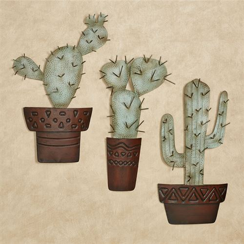 Cactus Metal Wall Art Green Set of Three