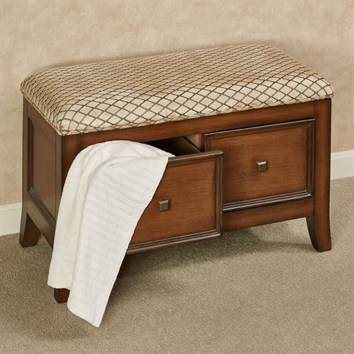 Mandi Upholstered Storage Bench Regal Walnut