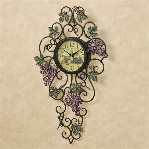 Vining Gems Grape Wall Clock Purple